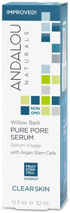 Pure Pore Serum, Clear Skin, Willow Bark, 1.1 fl oz (32 ml) by Andalou Naturals, 健康,皮膚血清,美容,水楊酸 HK 香港