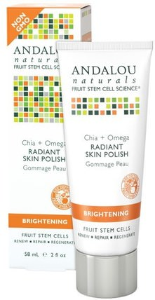 Radiant Skin Polish, Chia + Omega, Brightening, 2 fl oz (58 ml) by Andalou Naturals, 美容,面部護理,美白面部護理,維生素c HK 香港