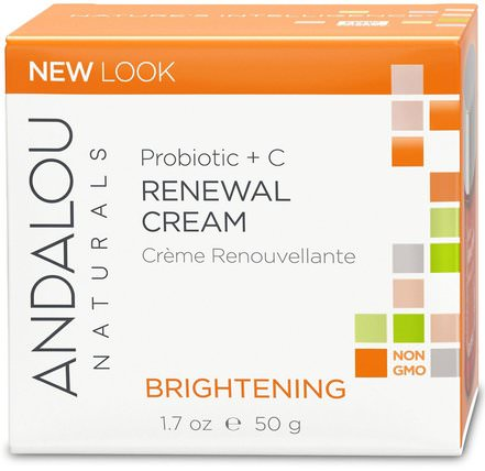 Renewal Cream, Probiotic + C, Brightening, 1.7 fl oz (50 ml) by Andalou Naturals, 美容,面部護理,麥盧卡蜂蜜護膚,美白面部護理 HK 香港