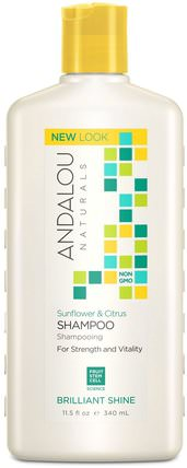 Shampoo, Brilliant Shine, For Strength and Vitality, Sunflower & Citrus, 11.5 fl oz (340 ml) by Andalou Naturals, 洗澡,美容,頭髮,頭皮,洗髮水,護髮素 HK 香港