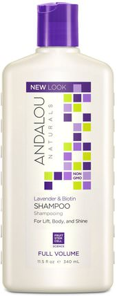 Shampoo, Full Volume, For Lift, Body, and Shine, Lavender & Biotin, 11.5 fl oz (340 ml) by Andalou Naturals, 洗澡,美容,頭髮,頭皮,洗髮水,護髮素 HK 香港