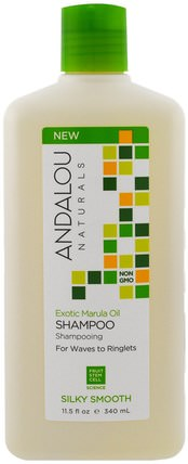 Shampoo, Silky Smooth, For Waves to Ringlets, Exotic Marula Oil, 11.5 fl oz (340 ml) by Andalou Naturals, 洗澡,美容,頭髮,頭皮,洗髮水,護髮素 HK 香港
