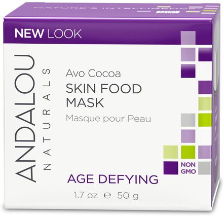Skin Food Mask, Avo Cocoa, Age Defying, 1.7 oz (50 g) by Andalou Naturals, 美容,面膜,抗衰老,亮白面膜 HK 香港