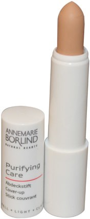 AnneMarie Borlind, Purifying Care, Cover-Up, Light, 0.085 oz (2.4 g) 沐浴,美容,化妝,修飾棒遮瑕膏,水楊酸