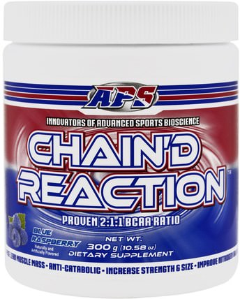 Chaind Reaction, BCAA, Blue Raspberry, 10.58 oz (300 g) by APS, 運動,補品,bcaa(支鏈氨基酸) HK 香港