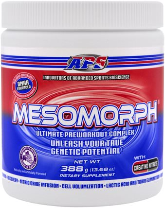 APS, Mesomorph, Ultimate Preworkout Complex, Grape Flavor, 13.68 oz (388 g) 健康,能量,運動