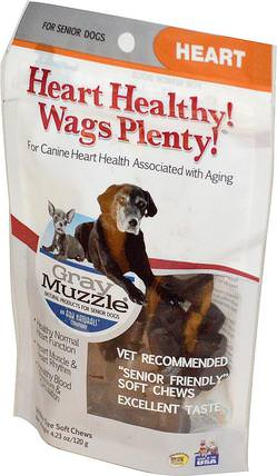 Heart Healthy! Wags Plenty!, Gray Muzzle, Heart, For Senior Dogs, 60 Bite Size Soft Chews, 4.23 oz (120 g) by Ark Naturals, 寵物護理,寵物狗,jerkys骨頭和餅乾 HK 香港