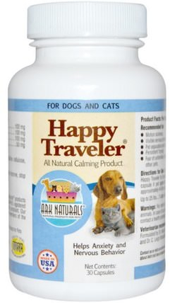Happy Traveler, All Natural Calming Product, For Dogs & Cats, 30 Capsules by Ark Naturals, 草藥,聖。約翰斯麥汁,寵物狗 HK 香港
