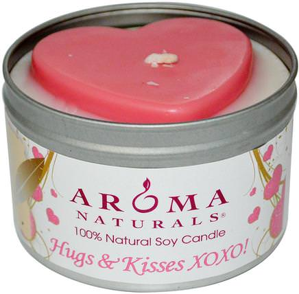 100% Natural Soy Candle, Hugs & Kisses XOXO!, 6.5 oz by Aroma Naturals, 蠟燭,洗澡,美容,禮品套裝 HK 香港