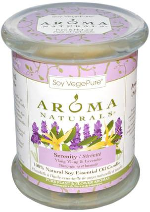 100% Natural Soy Essential Oil Candle, Serenity, Ylang Ylang & Lavender, 8.8 oz (260 g) 3 x 3.5 by Aroma Naturals, 洗澡,美容,蠟燭 HK 香港