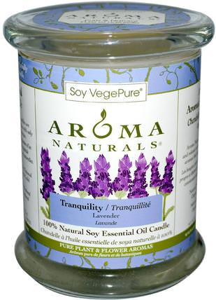 100% Natural Soy Essential Oil Candle, Tranquility, Lavender, 8.8 oz (260 g) by Aroma Naturals, 洗澡,美容,蠟燭 HK 香港