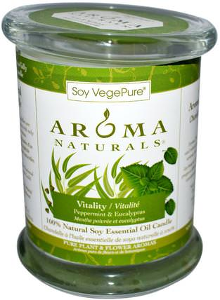100% Natural Soy Essential Oil Candle, Vitality, Peppermint & Eucalyptus, 8.8 oz (260 g) by Aroma Naturals, 洗澡,美容,蠟燭 HK 香港