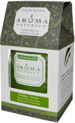 Naturally Blended, Pillar Candle, Vitality, Peppermint & Eucalyptus, 3 x 3.5 by Aroma Naturals, 洗澡,美容,蠟燭 HK 香港