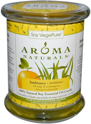 Soy VegePure, 100% Natural Soy Essential Oil Candle, Ambiance, Orange & Lemongrass, 8.8 oz (260 g) by Aroma Naturals, 洗澡,美容,蠟燭 HK 香港