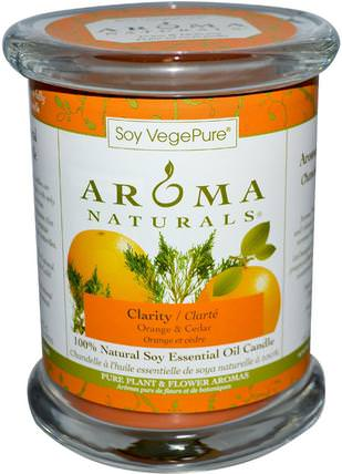Soy VegePure, 100% Natural Soy Essential Oil Candle, Clarity, Orange & Cedar, 8.8 oz (260 g) by Aroma Naturals, 洗澡,美容,蠟燭 HK 香港