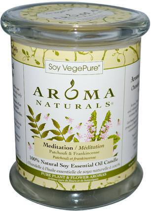 Soy VegePure, 100% Natural Soy Pillar Candle, Meditation, Patchouli & Frankincense, 8.8 oz (260 g) by Aroma Naturals, 洗澡,美容,蠟燭 HK 香港