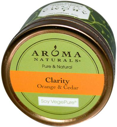 Soy VegePure, Clarity, Travel Candle, Orange & Cedar, 2.8 oz (79.38 g) by Aroma Naturals, 洗澡,美容,蠟燭 HK 香港