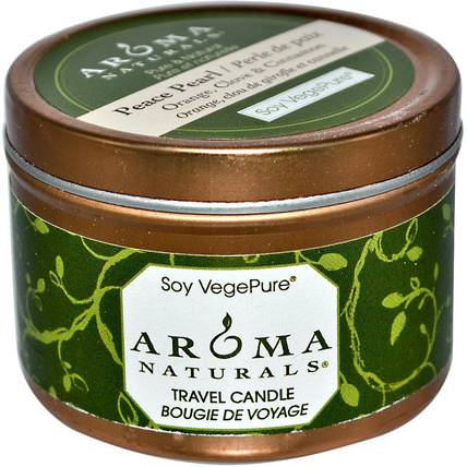 Soy VegePure, Travel Candle, Peace Pearl, Orange, Clove & Cinnamon, 2.8 oz (79.38 g) by Aroma Naturals, 洗澡,美容,蠟燭 HK 香港