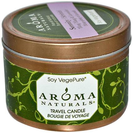 Soy VegePure, Travel Candle, Serenity, Ylang Ylang & Lavender, 2.8 oz (79.38 g) by Aroma Naturals, 洗澡,美容,蠟燭 HK 香港