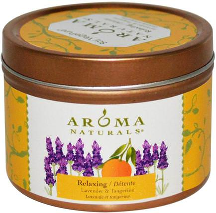 Soy VegePure, Travel Tin Candle, Relaxing, Lavender & Tangerine, 2.8 oz (79.38 g) by Aroma Naturals, 洗澡,美容,蠟燭 HK 香港