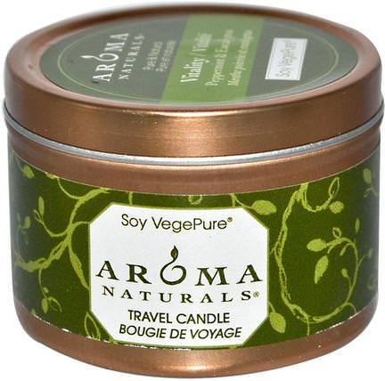 Soy VegePure, Vitality, Travel Candle, Peppermint & Eucalyptus, 2.8 oz (79.38 g) by Aroma Naturals, 洗澡,美容,蠟燭 HK 香港