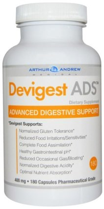 Devigest ADS, Advanced Digestive Support, 400 mg, 180 Capsules by Arthur Andrew Medical, 補充劑,消化酶 HK 香港