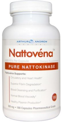 Nattovena, Pure Nattokinase, 200 mg, 180 Capsules by Arthur Andrew Medical, 補充劑,納豆激酶,亞瑟和醫學納豆 HK 香港