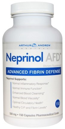 Neprinol AFD, Advanced Fibrin Defense, 500 mg, 150 Capsules by Arthur Andrew Medical, 補充劑,酶,亞瑟安德魯醫療neprinol,serrapeptase HK 香港
