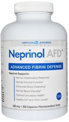 Neprinol AFD, Advanced Fibrin Defense, 500 mg, 300 Capsules by Arthur Andrew Medical, neprinol HK 香港