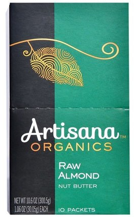 Organics, Raw Almond Nut Butter, 10 Packets, 1.06 oz (30.05 g) Each by Artisana, 食品,堅果黃油,杏仁黃油,手工堅果黃油 HK 香港