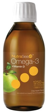 NutraSea + D, Omega-3 + Vitamin D, Crisp Apple Flavor, 6.8 fl oz (200 ml) Liquid by Ascenta, 補充劑,efa omega 3 6 9(epa dha),魚油液體,ascenta nutrasea HK 香港