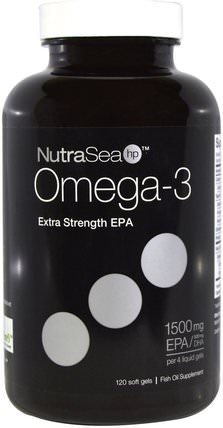 NutraSea hp, Omega-3, Extra Strength EPA, Lemon Flavor, 120 Softgels by Ascenta, 補充劑,efa omega 3 6 9(epa dha),魚油,魚油軟膠囊,ascenta nutrasea HK 香港