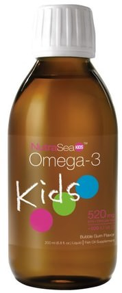 NutraSea Kids, Omega-3, Bubble Gum Flavor, 6.8 fl oz (200 ml) by Ascenta, 補充劑,efa omega 3 6 9(epa dha),ascenta nutrasea HK 香港