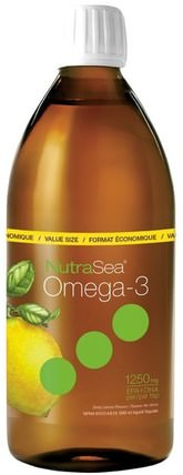 NutraSea, Omega-3, Zesty Lemon Flavor, 16.9 fl oz (500 ml) by Ascenta, 補充劑,efa omega 3 6 9(epa dha),魚油液體,ascenta nutrasea HK 香港