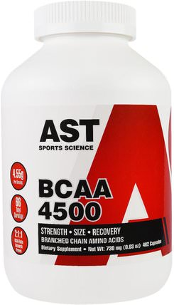 BCAA 4500, 462 Capsules by AST Sports Science, 補充劑,氨基酸,bcaa(支鏈氨基酸) HK 香港