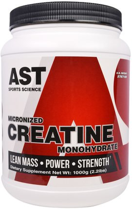 Micronized Creatine Monohydrate, 2.2 lbs (1000 g) by AST Sports Science, 運動,肌酸粉 HK 香港