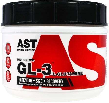 AST Sports Science, Micronized GL-3, L-Glutamine, 18.52 oz (525 g) 運動,鍛煉