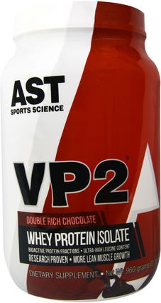 VP2, Whey Protein Isolate, Double Rich Chocolate, 2.12 lbs (960 g) by AST Sports Science, 補充劑,乳清蛋白 HK 香港