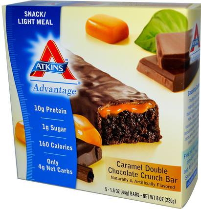 Advantage, Caramel Double Chocolate Crunch Bar, 5 Bars, 1.6 oz (44 g) Each by Atkins, 補品,營養棒,飲食 HK 香港