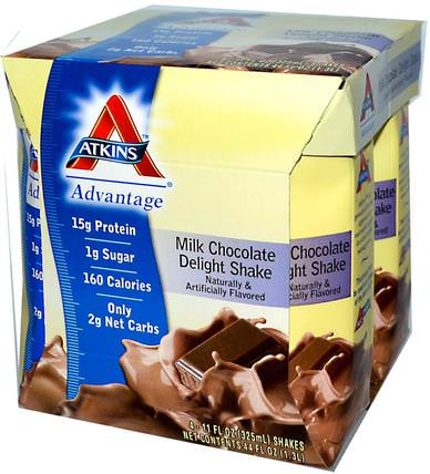 Advantage, Milk Chocolate Delight Shake, 4 Shakes, 11 fl oz (325 ml) Each by Atkins, 健康,飲食 HK 香港