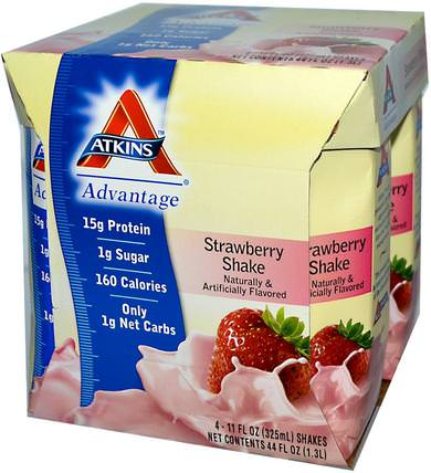 Advantage, Strawberry Shake, 4 Shakes, 11 fl oz (325 ml) Each by Atkins, dieet HK 香港