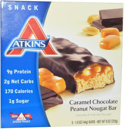 Caramel Chocolate Peanut Nougat Bar, 5 Bars, 1.6 oz (44 g) Each by Atkins, 補品,營養棒,飲食 HK 香港