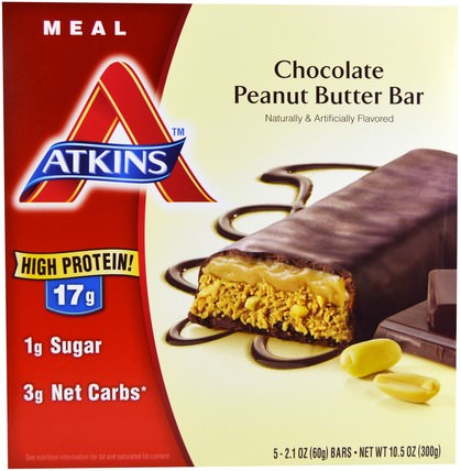Chocolate Peanut Butter Bar, 5 Bars, 2.1 oz (60 g) Each by Atkins, 補品,營養棒,飲食 HK 香港