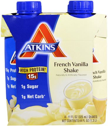 French Vanilla Shake, 4 Shakes, 11 fl oz (325 ml) Each by Atkins, dieet HK 香港