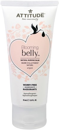 Blooming Belly, Natural Nursing Balm, Argan, 2.5 fl oz. (75 ml) by ATTITUDE, 兒童健康,嬰兒餵養,母乳喂養,兒童食品 HK 香港