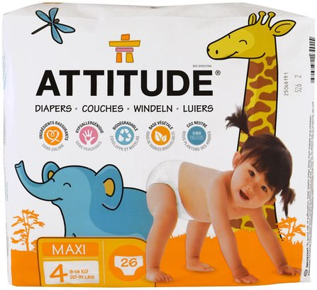 Diapers, Maxi, Size 4, 20-31 lbs (9-14 kg), 26 Diapers by ATTITUDE, 兒童健康,尿布,一次性尿布 HK 香港