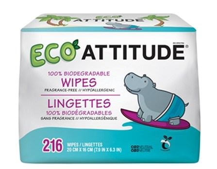 Eco Wipes, Fragrance-Free, 216 Wipes by ATTITUDE, 兒童健康,尿布,嬰兒濕巾 HK 香港