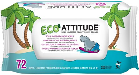 Eco Wipes, Fragrance-Free, 72 Wipes by ATTITUDE, 兒童健康,尿布,嬰兒濕巾 HK 香港