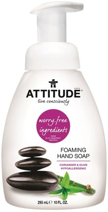 Foaming Hand Soap, Coriander & Olive, 10 fl oz (295 ml) by ATTITUDE, 洗澡,美容,身體護理,肥皂,泡沫肥皂 HK 香港
