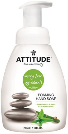 Foaming Hand Soap, Green Apple & Basil, 10 fl oz (295 ml) by ATTITUDE, 洗澡,美容,身體護理,肥皂,泡沫肥皂 HK 香港